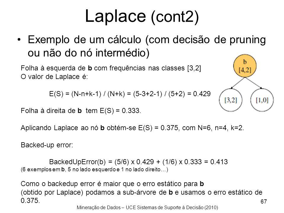Laplace (cont2) Exemplo de um cálculo (com decisão de pruning ou não do nó intermédio) Folha à esquerda de b com frequências nas classes [3,2]